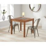 Oxford 80cm Dark Oak Dining Table with Tolix Industrial Style Dining Chairs