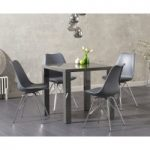 Atlanta 80cm Dark Grey High Gloss Dining Table with Calvin Chrome Leg Chairs