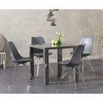 Atlanta 80cm Dark Grey High Gloss Dining Table with Calvin Chrome Leg Chairs