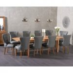 Verona 150cm Extending Solid Oak Dining Table with Cora Grey Faux Leather Chairs