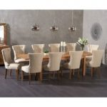 Verona 180cm Extending Solid Oak Dining Table with Cora Fabric Chairs