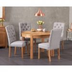 Verona 110cm Solid Oak Round Table with Candice Fabric Chairs