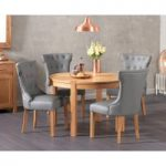 Verona 110cm Solid Oak Round Table with Cora Grey Faux Leather Chairs