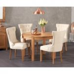Verona 110cm Solid Oak Round Table with Cora Fabric Chairs