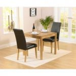 Oxford 80cm Solid Oak Dining Table with Albany Black Chairs