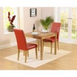 Oxford 80cm Solid Oak Dining Table with Albany Red Chairs