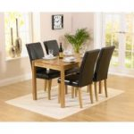 Oxford 120cm Solid Oak Dining Set with Albany Brown Chairs
