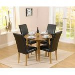 Oxford 90cm Solid Oak Drop Leaf Extending Dining Table with Albany Brown Chairs