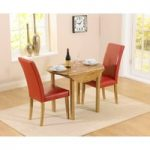 Oxford 90cm Solid Oak Drop Leaf Extending Dining Table with Albany Red Chairs