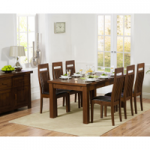 Rustique 180cm Dark Solid Oak Extending Dining Table with Monaco Chairs