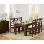 Rustique 180cm Dark Solid Oak Extending Dining Table with Cheshire Chairs