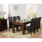 Rustique 180cm Dark Solid Oak Extending Dining Table with WNG Chairs