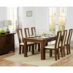 Rustique 180cm Dark Solid Oak Extending Dining Table with Toronto Chairs