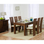 Rustique 180cm Dark Solid Oak Extending Dining Table with Montreal Chairs