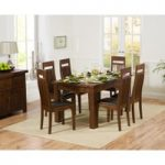 Rustique 150cm Dark Solid Oak Extending Dining Table with Monaco Chairs