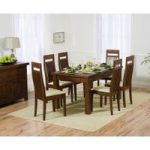 Rustique 150cm Dark Solid Oak Extending Dining Table with 8 Monaco Chairs