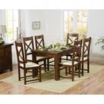 Rustique 150cm Dark Solid Oak Extending Dining Table with Cheshire Chairs