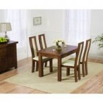 Rustique 120cm Dark Solid Oak Extending Dining Table with Toronto Chairs