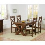 Bordeaux 160cm Dark Solid Oak Extending Dining Table with Cheshire Chairs
