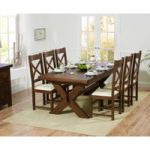 Bordeaux 200cm Dark Solid Oak Extending Dining Table with Cheshire Chairs