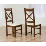 Cheshire Dark Solid Oak and Cream Leather Dining Chairs (Pair)