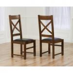 Cheshire Dark Solid Oak and Brown Leather Dining Chairs (Pair)