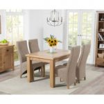 Yateley 130cm Oak Extending Dining Table with Tweed Henley Fabric Dining Chairs