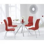 Elva 100cm Glass Dining Table with Red Calgary Chairs