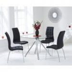 Elva 100cm Glass Dining Table with Black Calgary Chairs