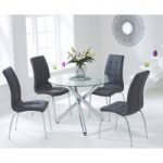 Orino 100cm Glass Dining Table with Charcoal Grey Calgary Chairs