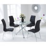 Orino 100cm Glass Dining Table with Black Calgary Chairs