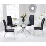 Denver 110cm Glass Dining Table with Black Calgary Chairs