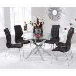 Denver 120cm Glass Dining Table with Brown Calgary Chairs