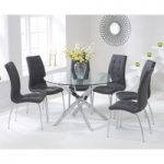 Denver 120cm Glass Dining Table with Charcoal Grey Calgary Chairs