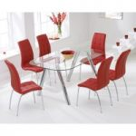 Piazzo 160cm Glass Dining Table with Red Calgary Chairs