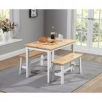 Chiltern 115cm Oak and White Dining Table Set with Benches