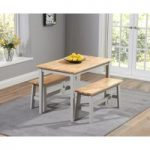 Chiltern 115cm Oak and Grey Dining Table Set with Benches