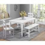 Chiltern 150cm White Dining Table Set with Benches and Chairs