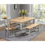 Chiltern 150cm Oak and Grey Dining Table Set with Benches and Chairs