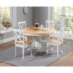 Epsom Oak and White 120cm Round Pedestal Dining Set