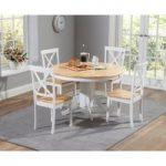 Epsom Oak and White 120cm Round Pedestal Dining Set