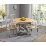 Epsom Oak and Grey 120cm Round Pedestal Dining Set