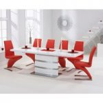 Babington 160cm White High Gloss Extending Dining Table with Red Hampstead Z Chairs