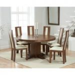 Torino 150cm Dark Solid Oak Round Pedestal Dining Table with Toronto Chairs