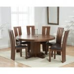 Torino 150cm Dark Solid Oak Round Pedestal Dining Table with Montreal Chairs