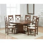 Torino 150cm Dark Solid Oak Round Pedestal Dining Table with Cheshire Chairs