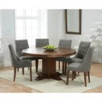 Torino 150cm Dark Solid Oak Round Pedestal Dining Table with Pacific Fabric Dark Oak Leg Chairs