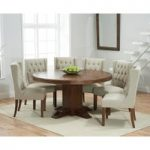 Torino 150cm Dark Solid Oak Round Pedestal Dining Table with Safia Fabric Dark Oak Leg Chairs
