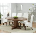 Torino Dark Solid Oak Extending Pedestal Dining Table with WNG Dark Faux Leather Chairs
