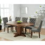 Torino Dark Solid Oak Extending Pedestal Dining Table with Anais Fabric Dark Oak Leg Chairs
